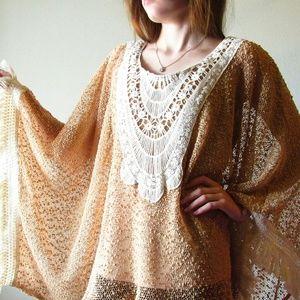 A'reve crochet lace fringe poncho blouse M/L